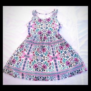 Justice White  and Pink Flower Dress Sz 14